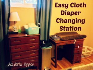 How to set up an easy, no-fuss changing station for cloth diapers. It's easier and cheaper than you'd think! #clothdiapers #organization