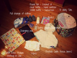Here's everything I take for a short trip out with #clothdiapers