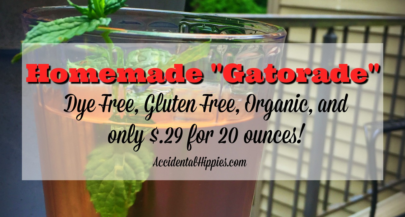 """This homemade """"gatorade"""" is organic, dye free, low in sugar, and only costs $.29 to make for a 20 oz. serving! Click for options, mix-ins, and the gallon sized version!"""