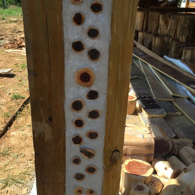 Cordwood column - used to bookend a large 16 inch cordwood wall