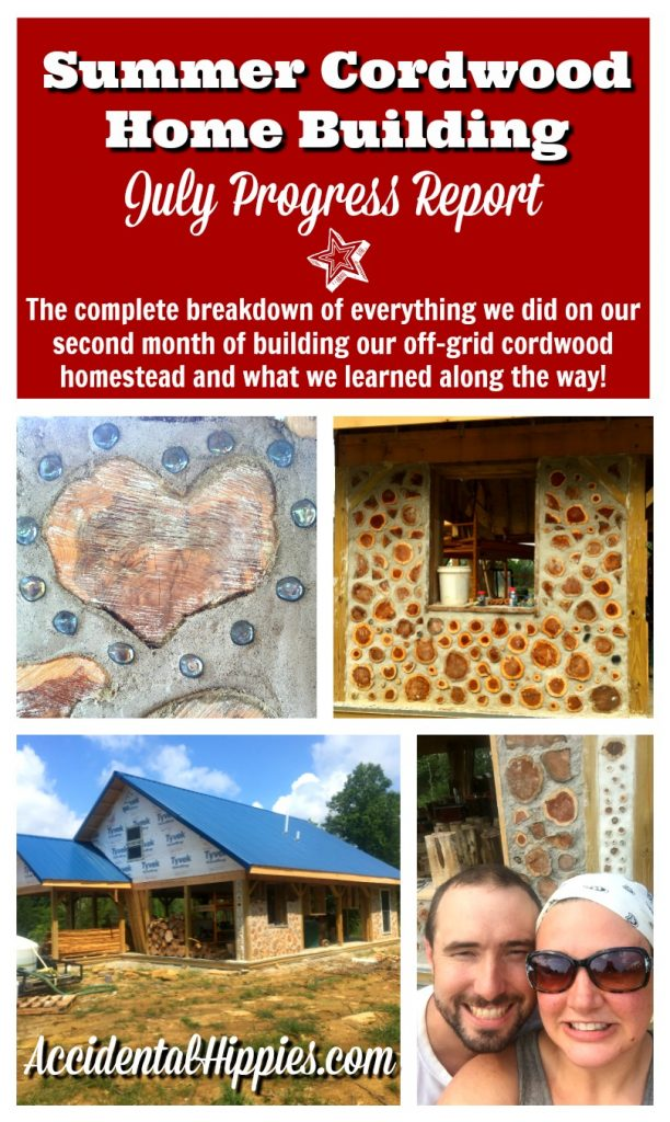 This family of three is building a cordwood house totally off the grid! Check out this progress report to see everything they did in their second full month of building and what you can learn from their mistakes #cordwood #offgrid #house