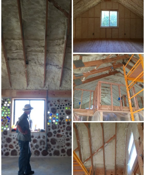 Spray foam insulation in the roof and loft of a cordwood house