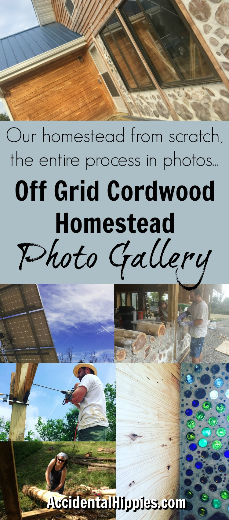 Photo gallery showcasing the complete process of building a cordwood home from the very beginning
