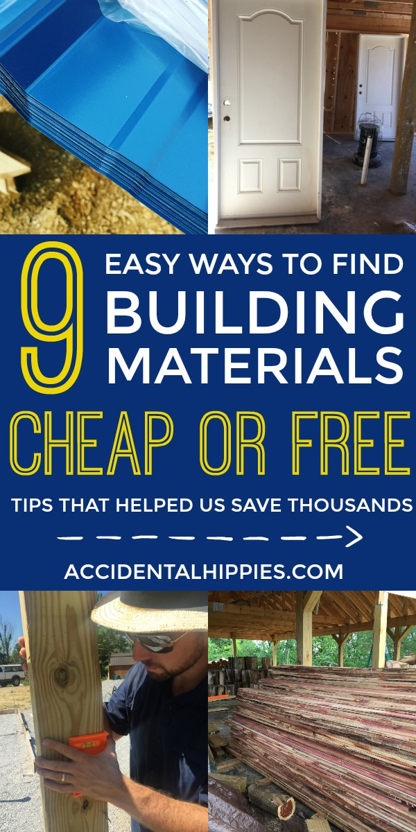 Save money and resources by using these 9 easy tips to score building materials on the cheap. Whether you're building an entire house like we did, or you're building something smaller like a garage, shed, chicken coop, kids playhouse, tiny house, she-shed, studio, or almost anything else -- the possibilities to get building supplies for cheap or even free are easy and attainable!
