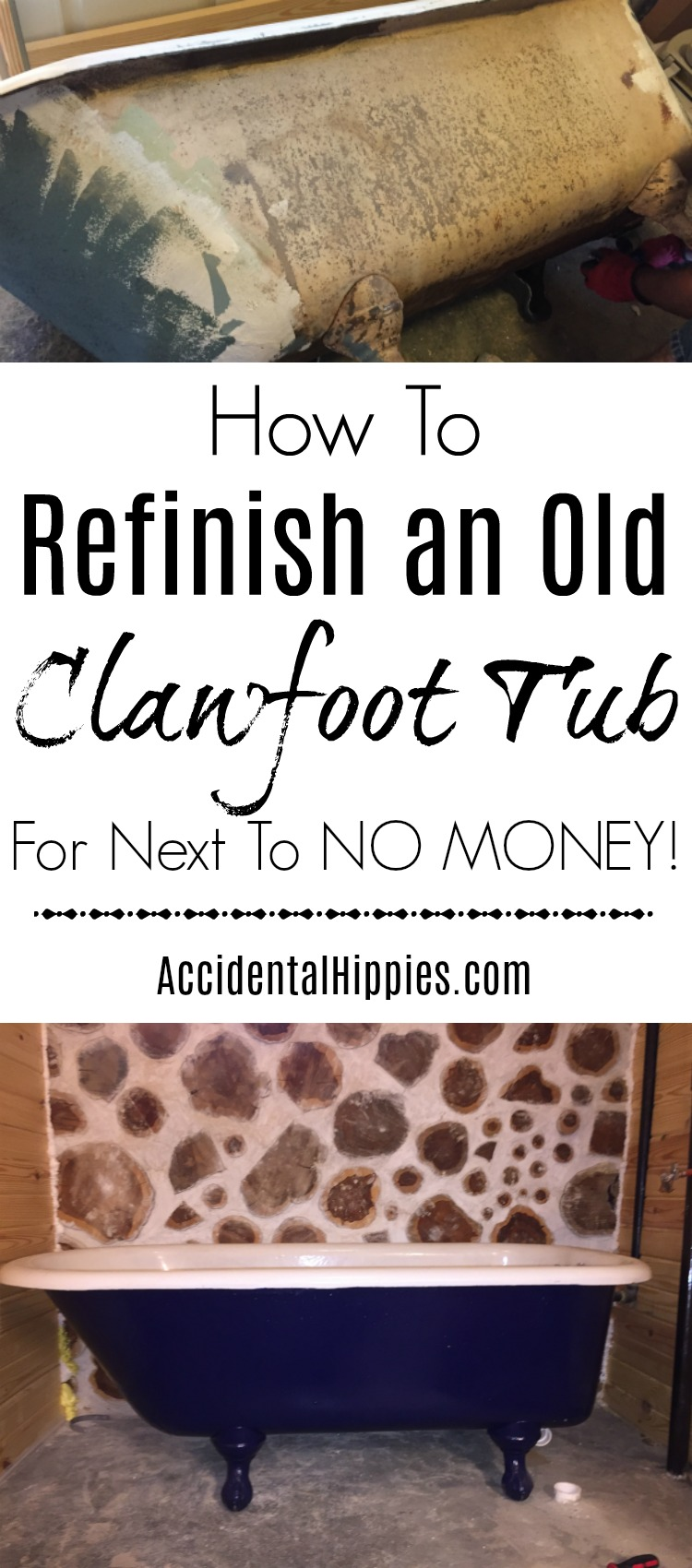 We saved thousands of dollars by finding a used clawfoot tub and refinishing it ourselves! This is everything we learned in the process.