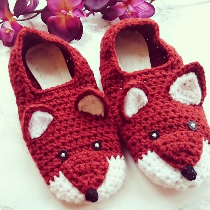 Crochet Fox Slippers