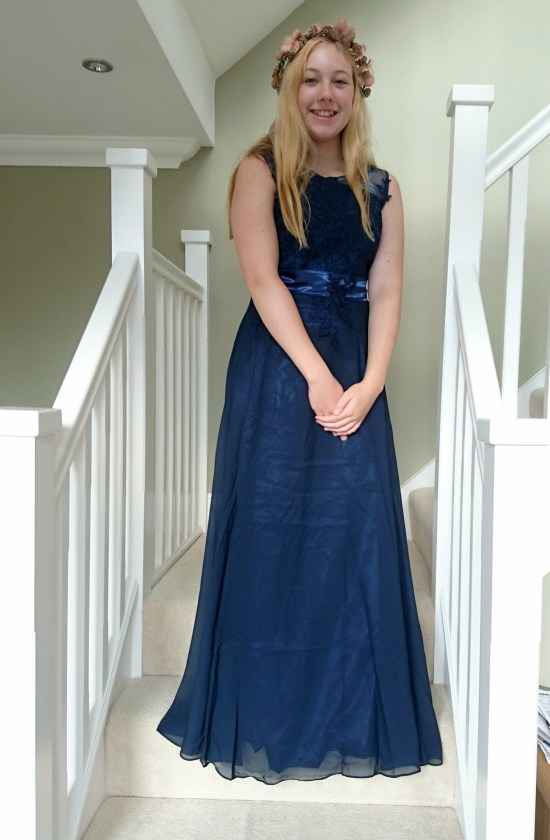 long navy and lace bridesmaid dress for autumn wedding