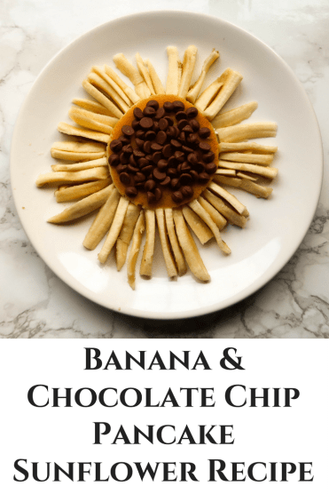 Banana and chocolate chip pancake recipe for kids. Make this tasty pancake treat in the shape of a sunflower!