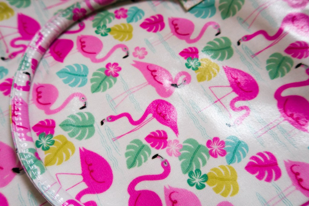 Flamingo print close up of oilcloth bag