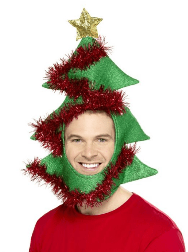 Christmas tree hat. Feeling less festive, but still want to look apart? There are some brilliant hats you can wear on Christmas like of course, a Santa hat, reindeer antlers or elf hats.