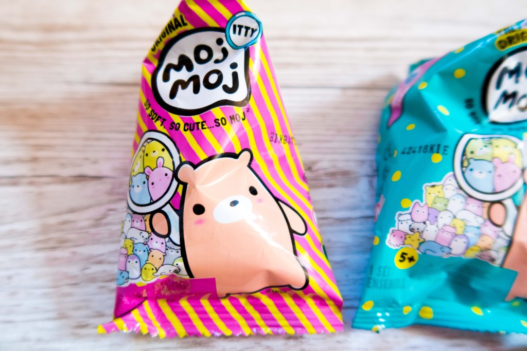 Moj Moj Itty blind bag in pink and yellow stripes