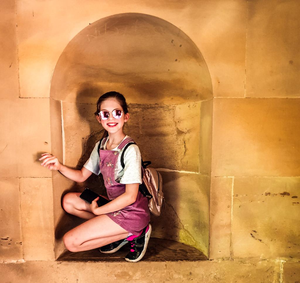 Emma in a weird arch we found