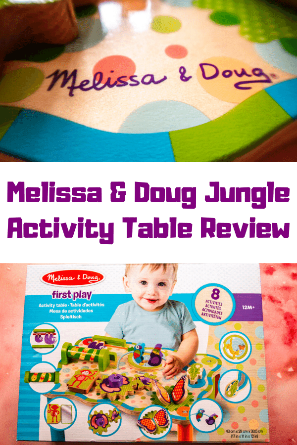 Wooden toys for one year olds. Wooden activity table review for Melissa & Doug Jungle Activity Table review #toyreview