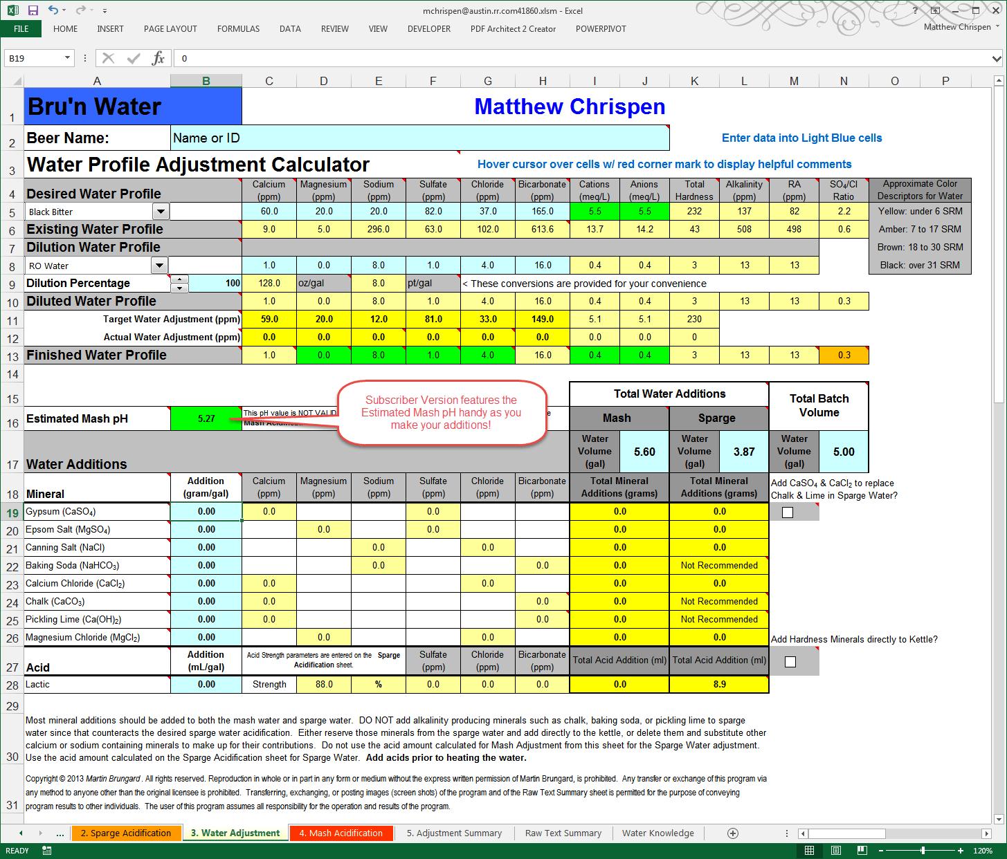 Bru N Water 2 0 Subscriber Spreadsheet Tutorial