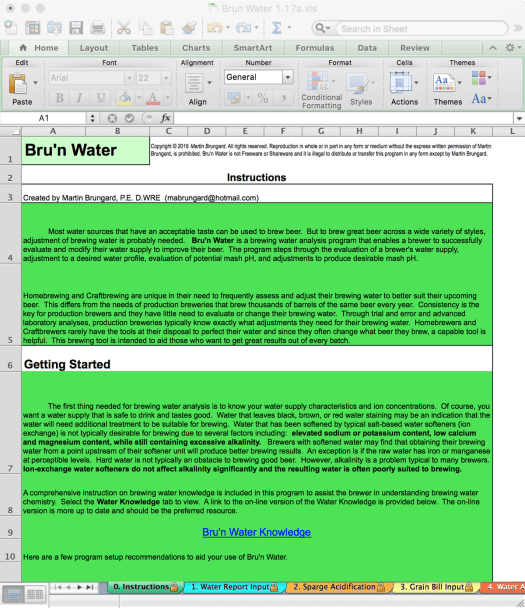 Bru'n Water Free Spreadsheet v 1.17a Instructions Page