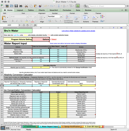 Bru'n Water Free Spreadsheet v 1.17a Water Report Input Tab