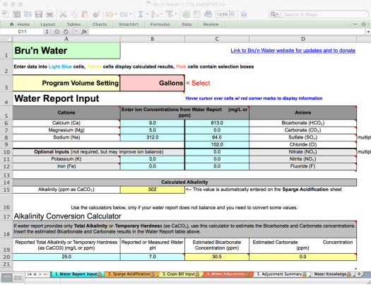 Bru'n Water Free Spreadsheet v 1.17a Water Report Input with Tap