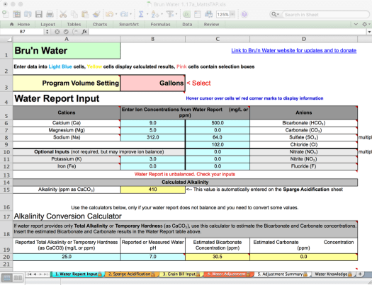 Bru'n Water Free Spreadsheet v 1.17a Water Report Input Error