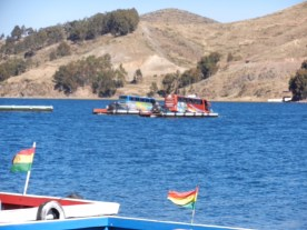 Our bus to La Paz taking a short cut across the lake