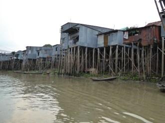 Stilt houses on the Bassac River