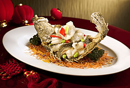 Hong kong food Hoi King Heen - Pan-fried Mandarin Fish Fillet with Garlic