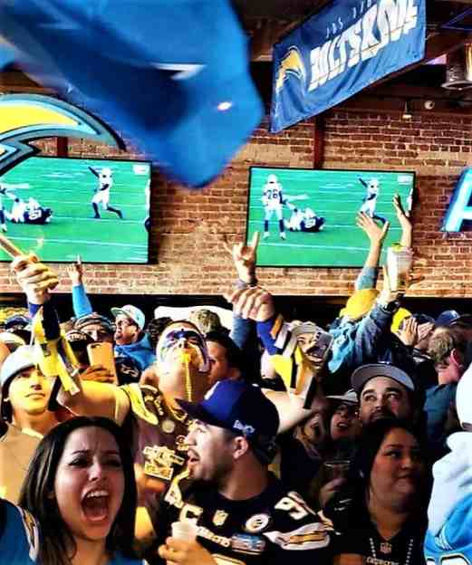 Los Angeles Charger fans at American Junkie in Hermosa Beach, California.