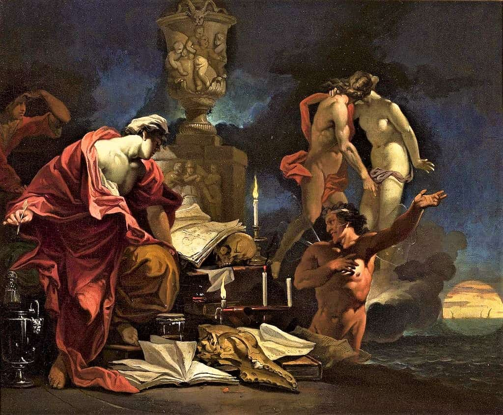 Painting-of-Domenicus-van-Wijnen-observing-equinox