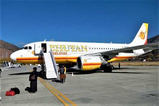 Bhutan-Airlines-Airbus -A319-112-at-Paro-International-Airport.