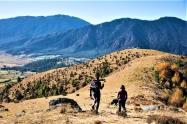 Trekking in the hills.