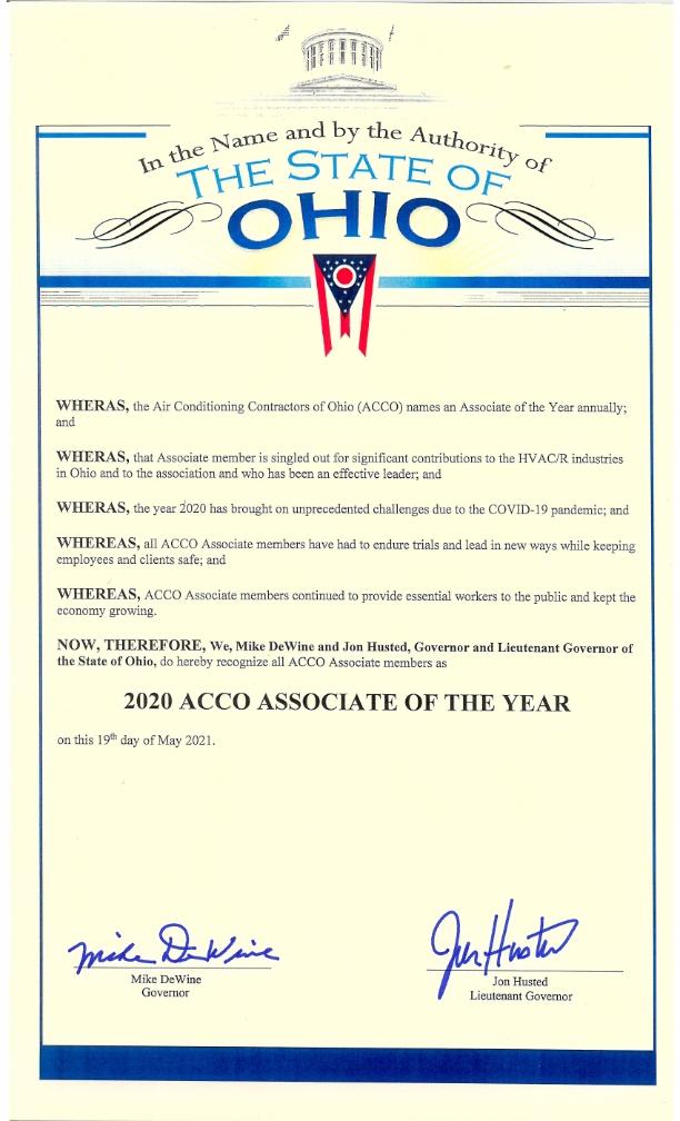 Presented to all ACCO Associate Members