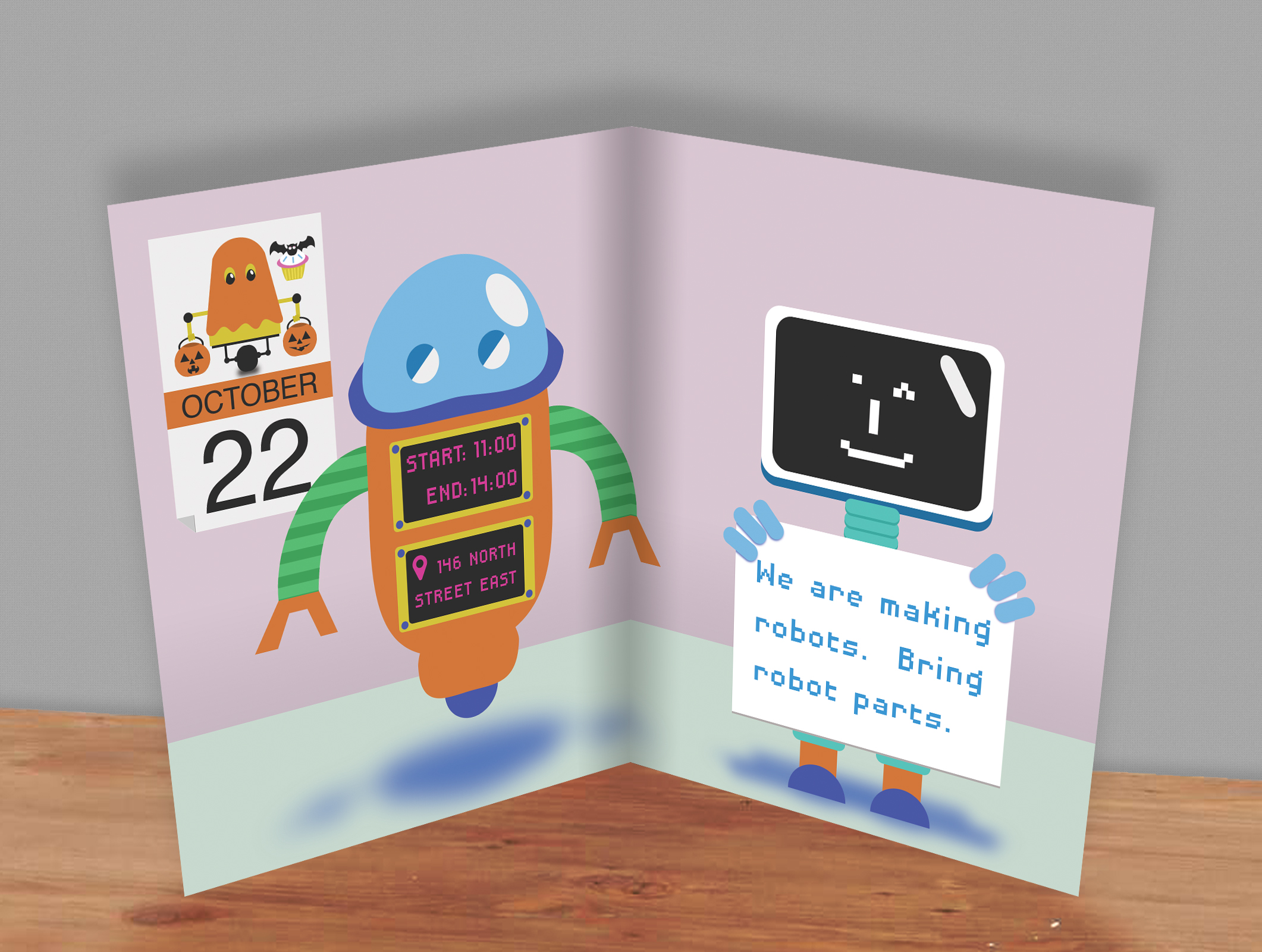 Robot Party Birthday Card - inside