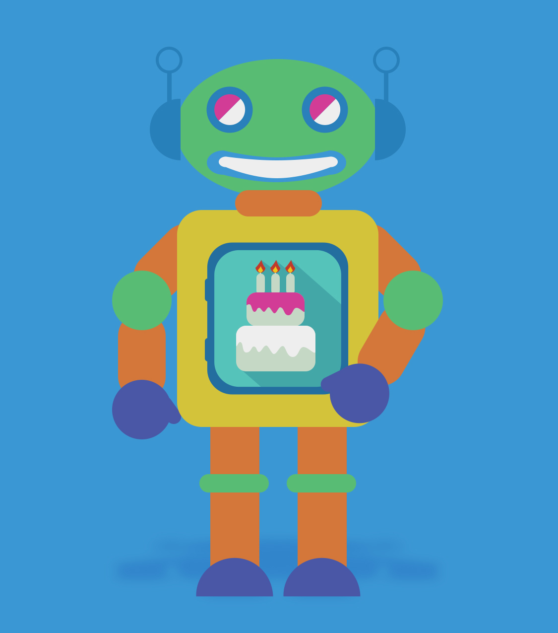 Robot Party Birthday Card: Vector