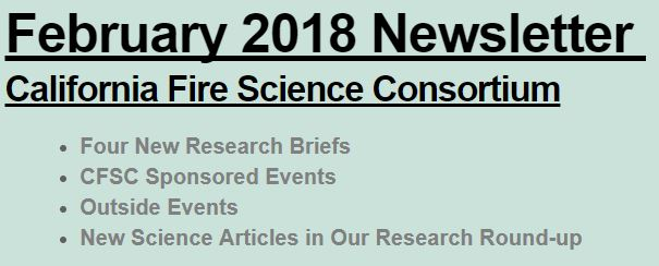 California Fire Science Consortium February 2018 Newsletter