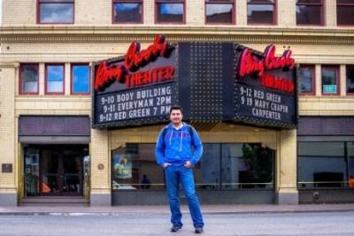 Antonio in front of the Bing Crosby Theater where the 2012 Trophée Mondial was held