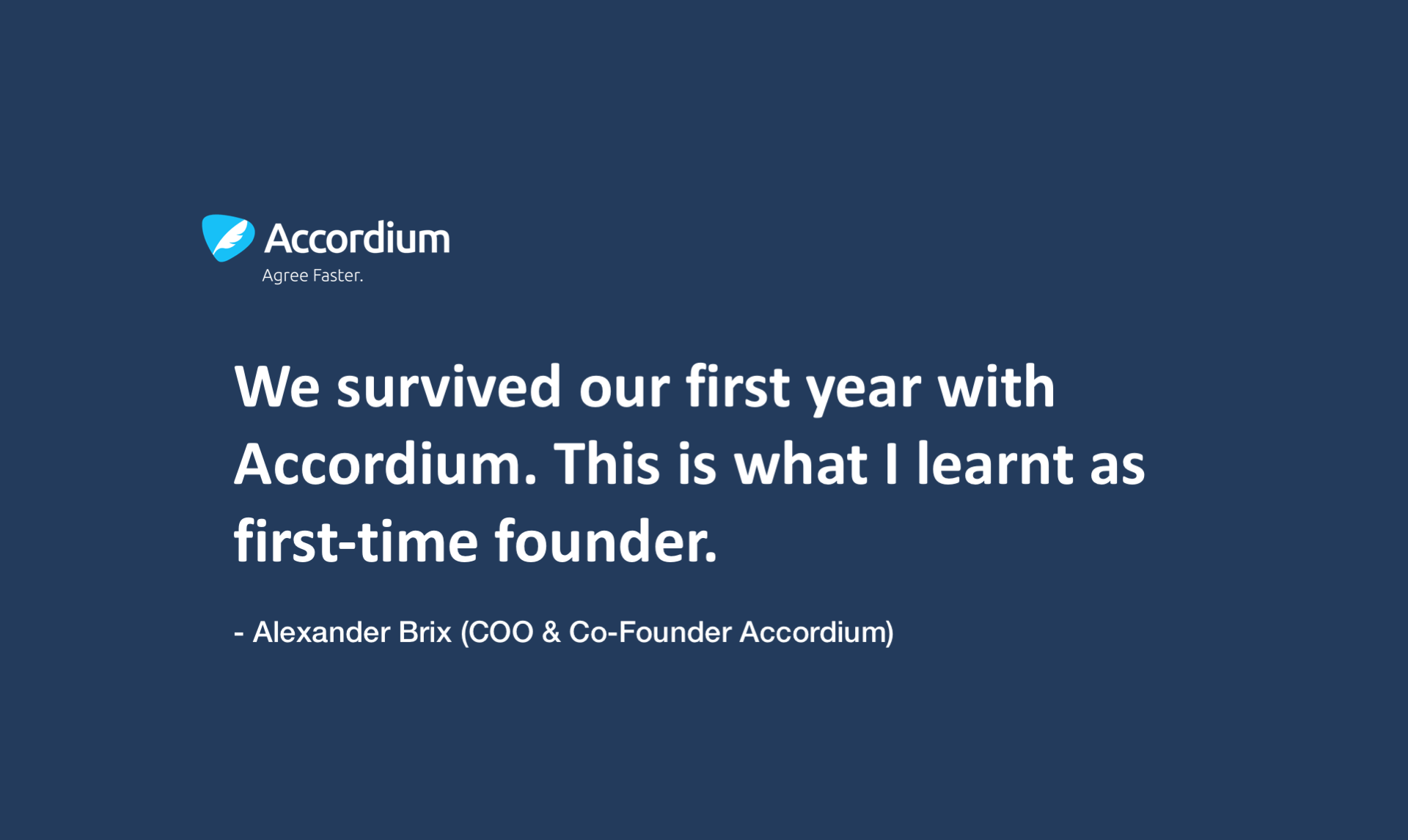 We survived our first year with Accordium by Alexander Brix