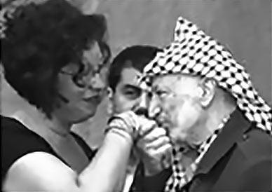 Judith LeBlanc with Yasser Arafat, 2002
