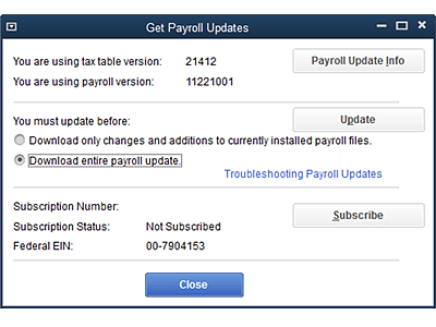 Payroll Get Update error ps033