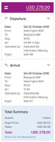 WOW air ticket price - AYP