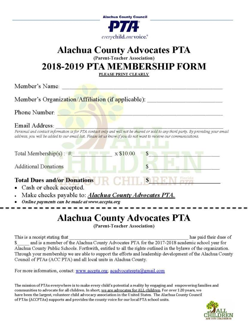 2018.2019 Alachua County Advocates PTA Membership Form