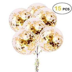 Ballons Confettis Or lot de 15