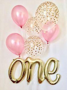 Sur Pinterest Un Script ballon ~ un ballon ~ rose & or premier anniversaire ballon