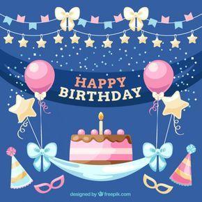 Sur Pinterest happy birthday / joyeux anniversaire / ballon rose / étoile or /