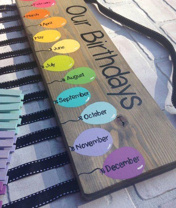 Sur Pinterest Birthday chart balloons – class birthdays – classroom decor – rainbow