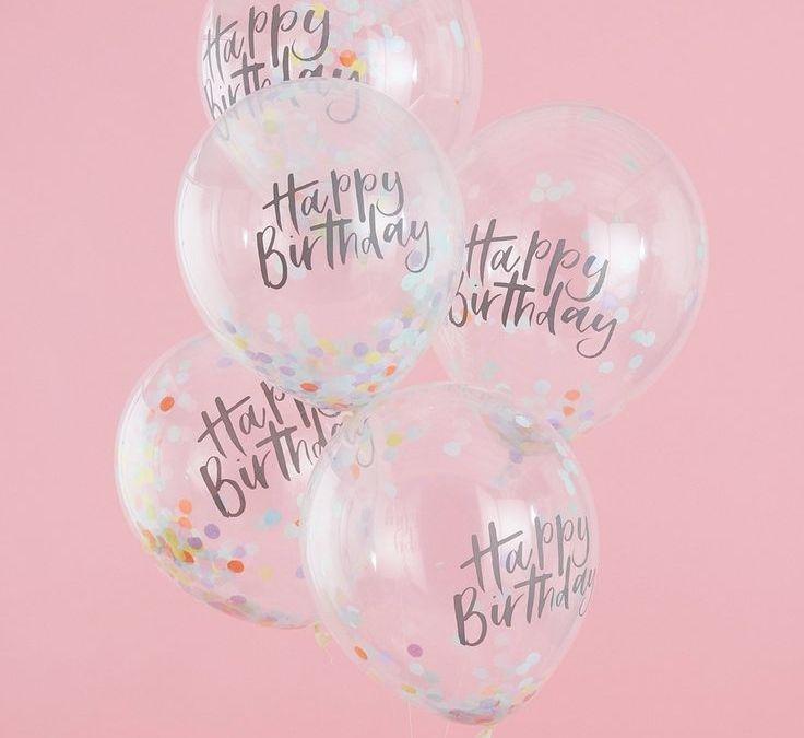 Sur Pinterest «Happy Birthday» Confetti Balloons Pink