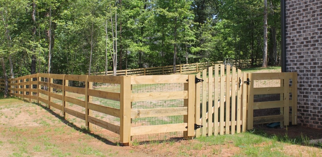 4 Rail Ranch W Picket Style Gate Accurate Fence