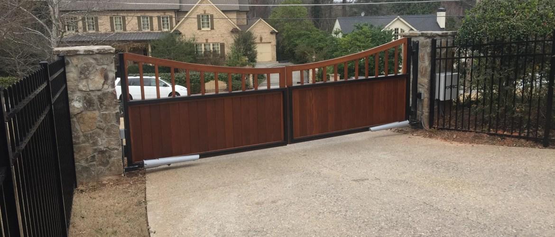 Custom Wood Estate Gate Inside access control