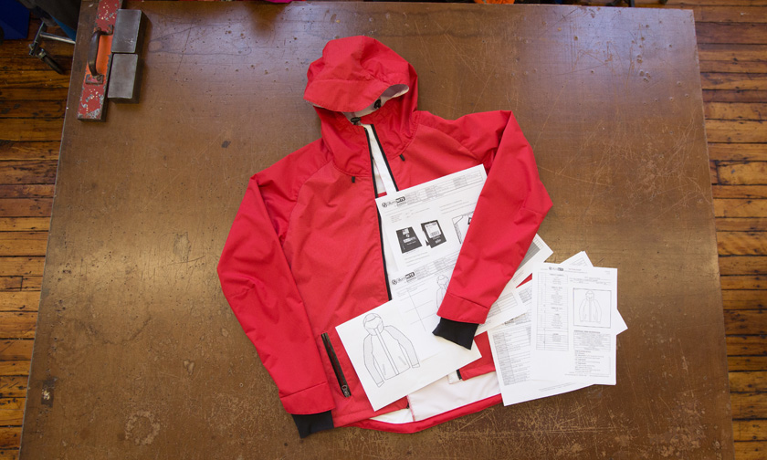 Jacket with tech packks and specs