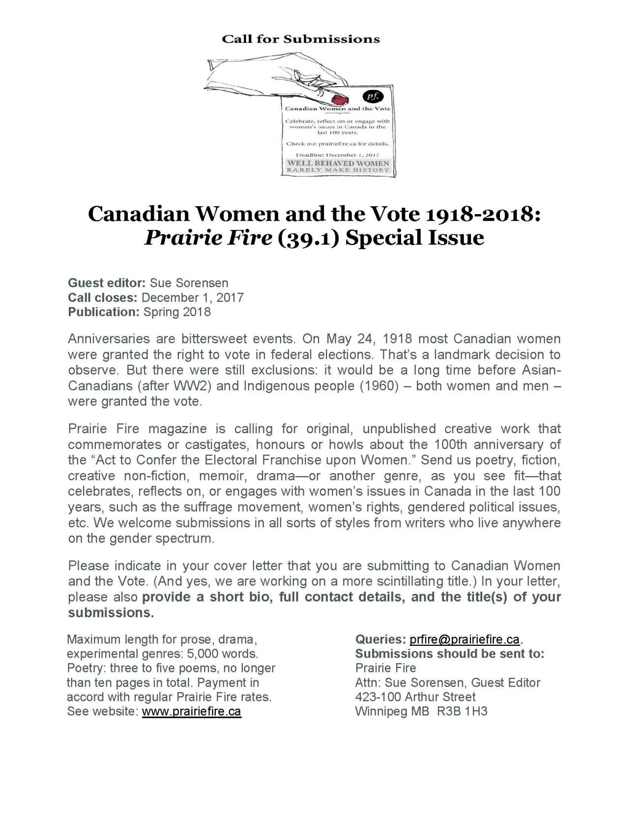Call for Submissions PF Canadian Women and the Vote (1)