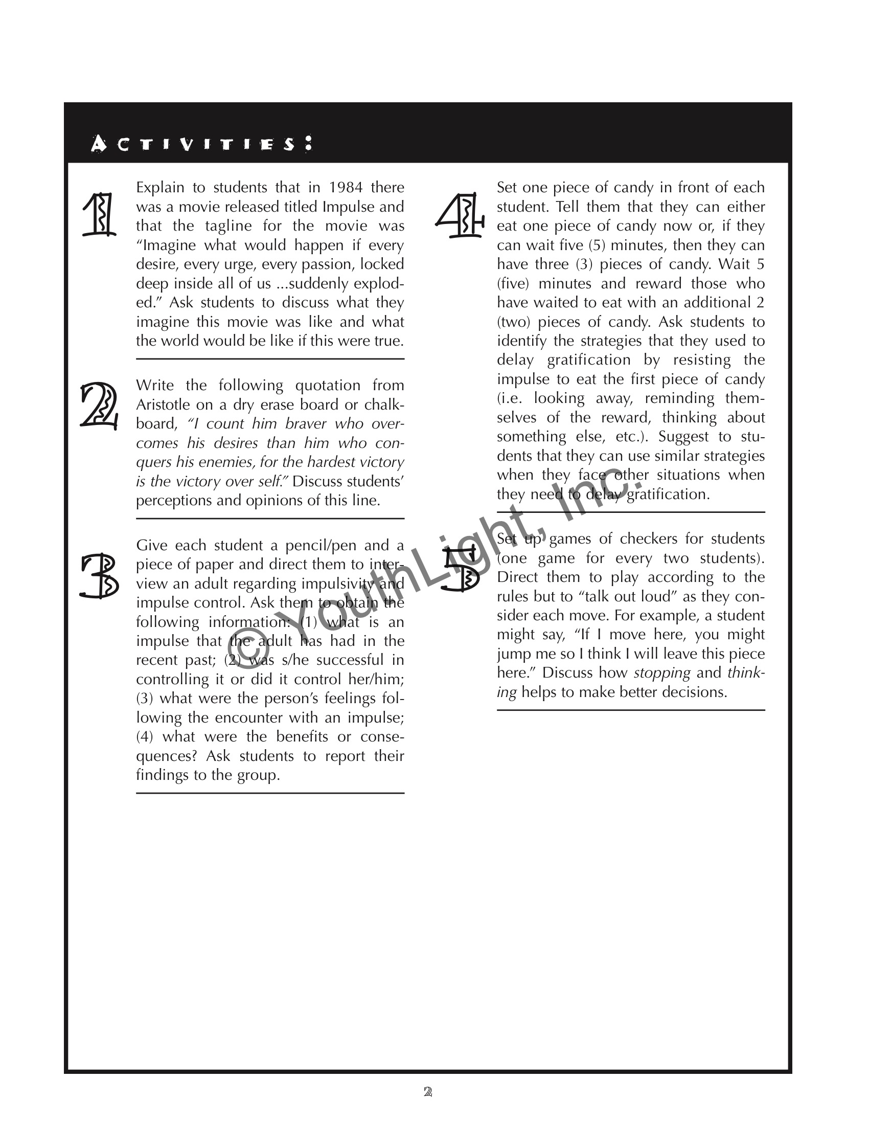 Impulse Control Activities And Worksheets
