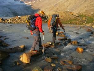 Cedric Zala - Stream crossing at the Hallam Glacier.